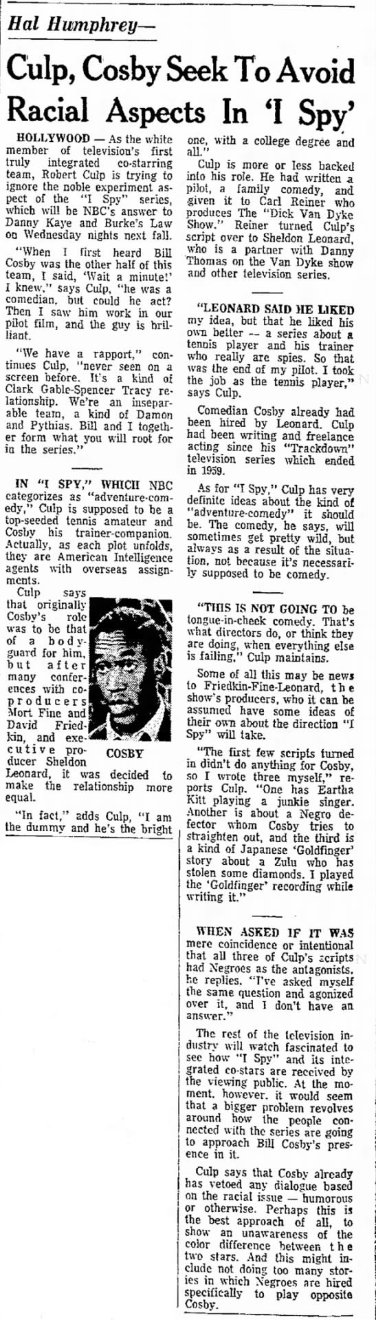 "Culp, Cosby Seek to Avoid Racial Aspects in ""I Spy"" - May 17, 1965"
